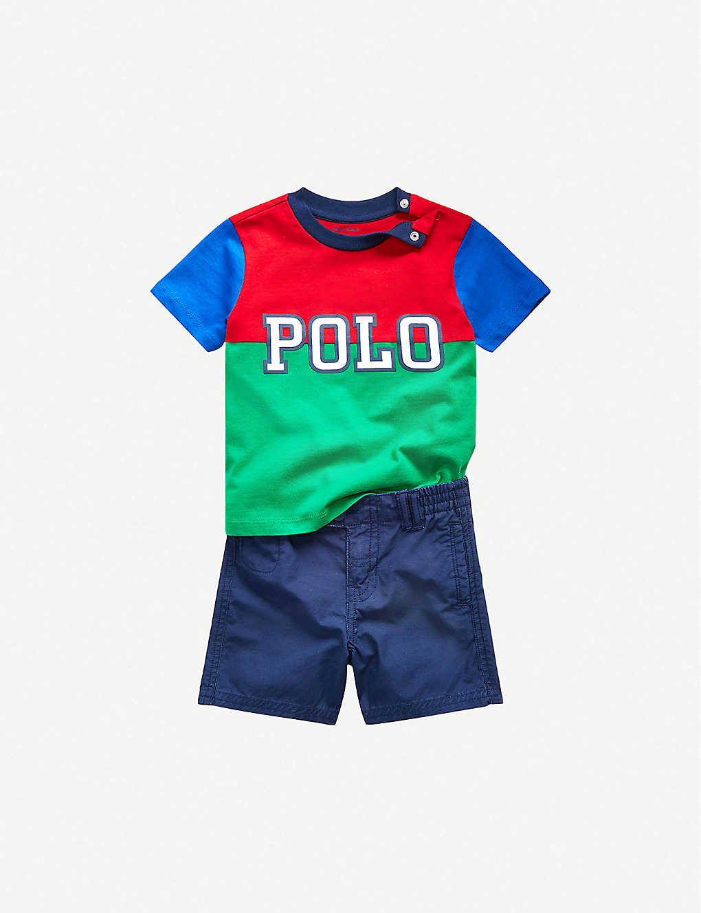 RALPH LAUREN: Polo logo-embroidered cotton T-shirt and shorts set 6-24 months