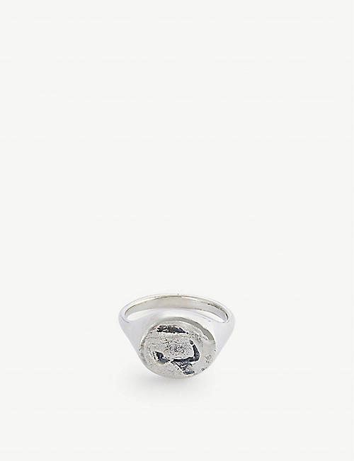 PEARLS BEFORE SWINE: Hammered sterling silver signet ring