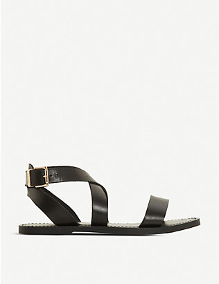 DUNE: Leelah cross-over strap leather sandals