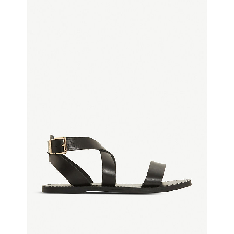 Dune LEELAH CROSS-OVER STRAP LEATHER SANDALS