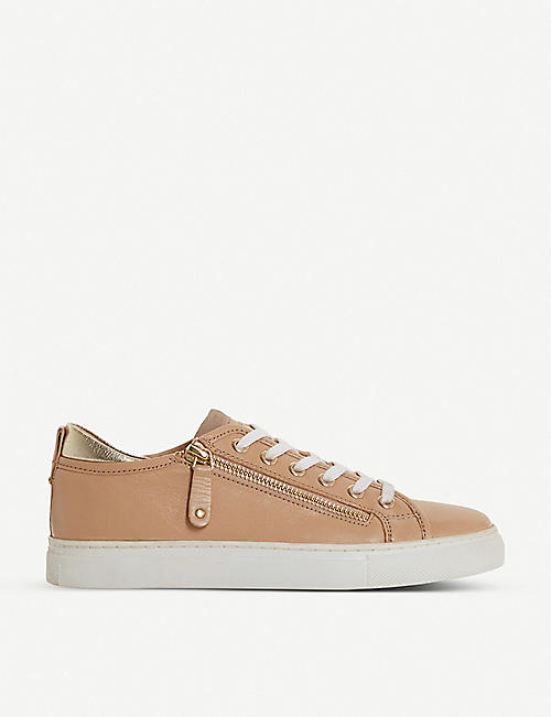 DUNE: Elicia zip-detail leather trainers