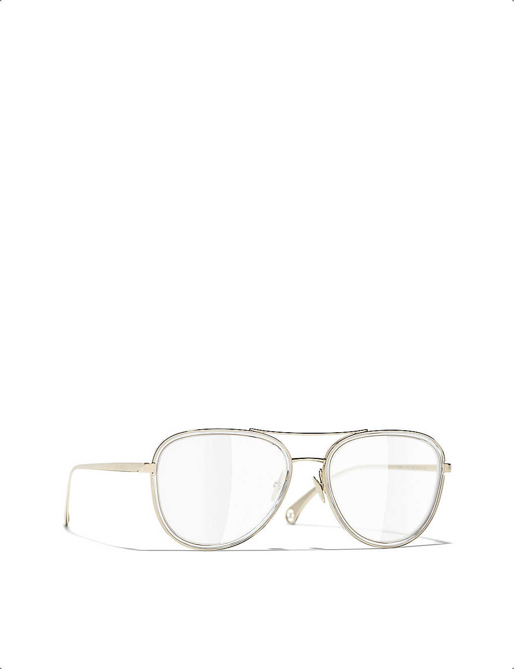 CHANEL: 0CH2196 metal pilot-frame glasses