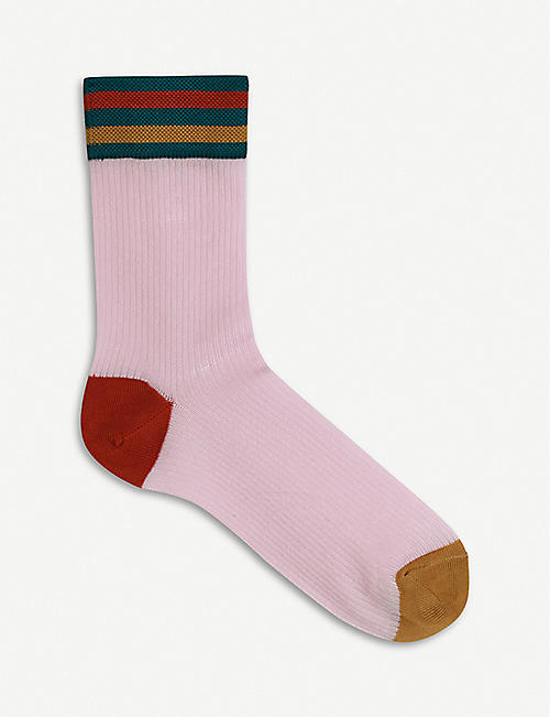 HYSTERIA: Lona colour-block knitted crew socks