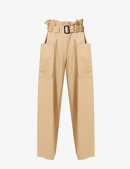 THE ROW: Timothy regular-fit high-rise cotton and paper-blend trousers