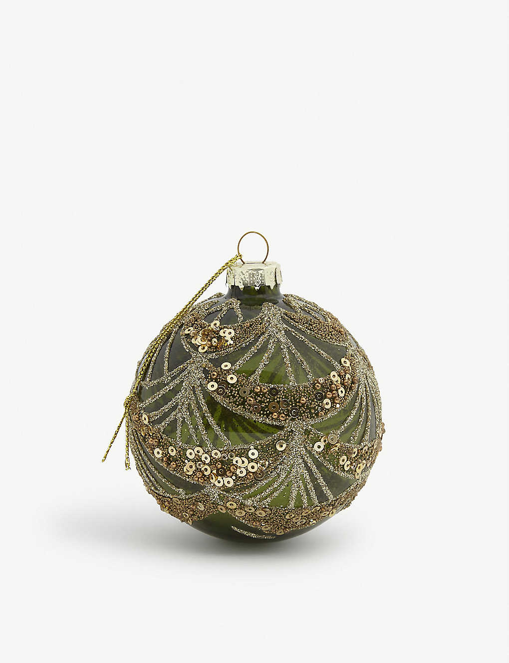 CHRISTMAS: Sequin-embellished glass bauble 25cm