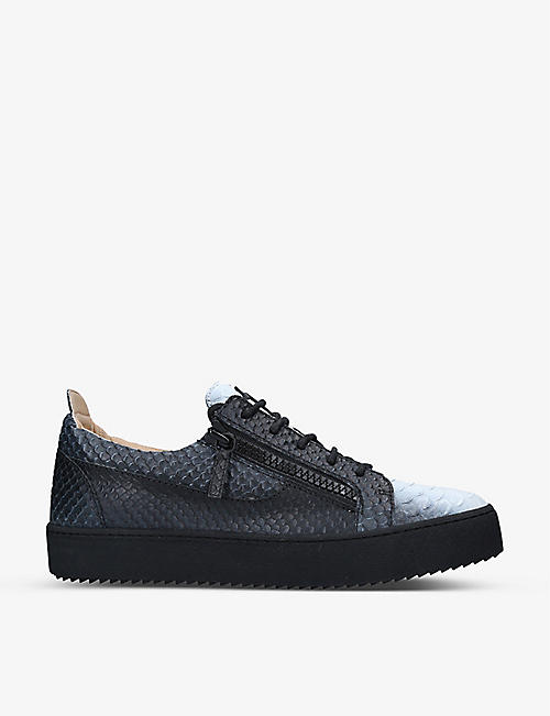 GIUSEPPE ZANOTTI: May London crocodile-embossed leather low-top trainers