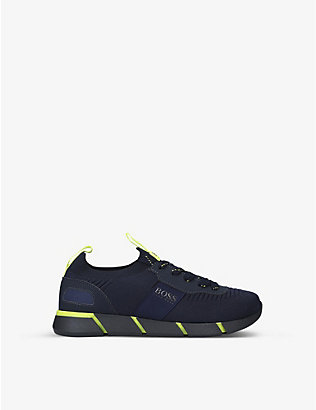 BOSS BY HUGO BOSS: Logo-embossed mesh low-top trainers 6-9 years