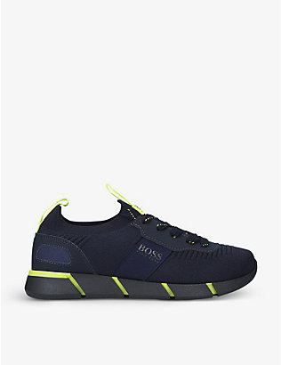 BOSS BY HUGO BOSS: Branded woven trainers 9-10 years