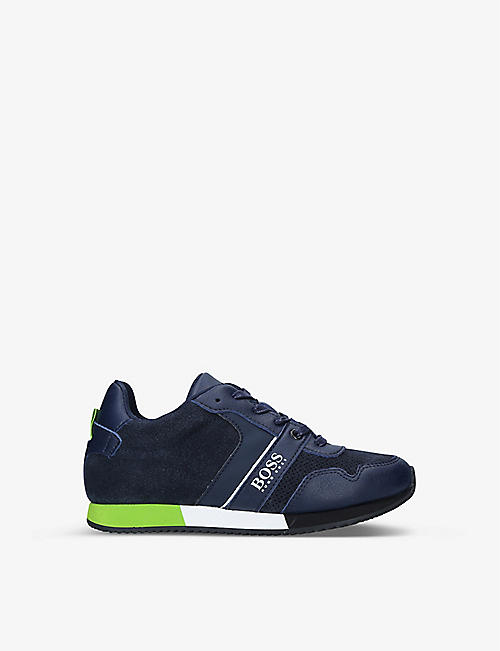 BOSS BY HUGO BOSS: Sonic leather and mesh trainers 7-9 years