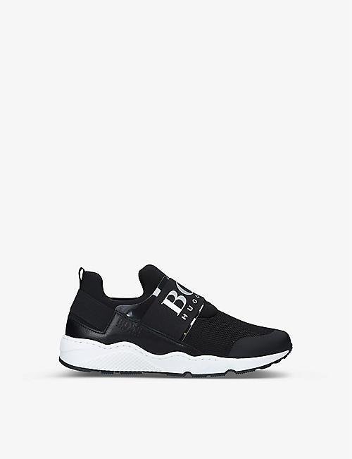 BOSS BY HUGO BOSS: Logan low-top neoprene and mesh trainers 6-8 years