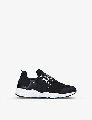 BOSS BY HUGO BOSS: Logan low-top neoprene and mesh trainers 6-9 years