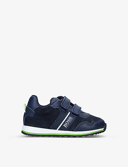 BOSS BY HUGO BOSS: Milo low-top leather and suede trainers 6 months-1 year