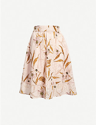 TED BAKER: Cabana-print broderie anglaise cotton midi skirt
