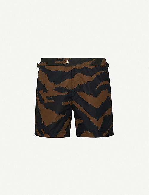 TOM FORD: Tailored animal print swim shorts