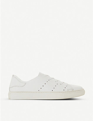 BERTIE: Electric perforated-detail leather trainers