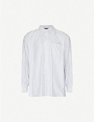 ADER ERROR: Striped oversized cotton-blend shirt