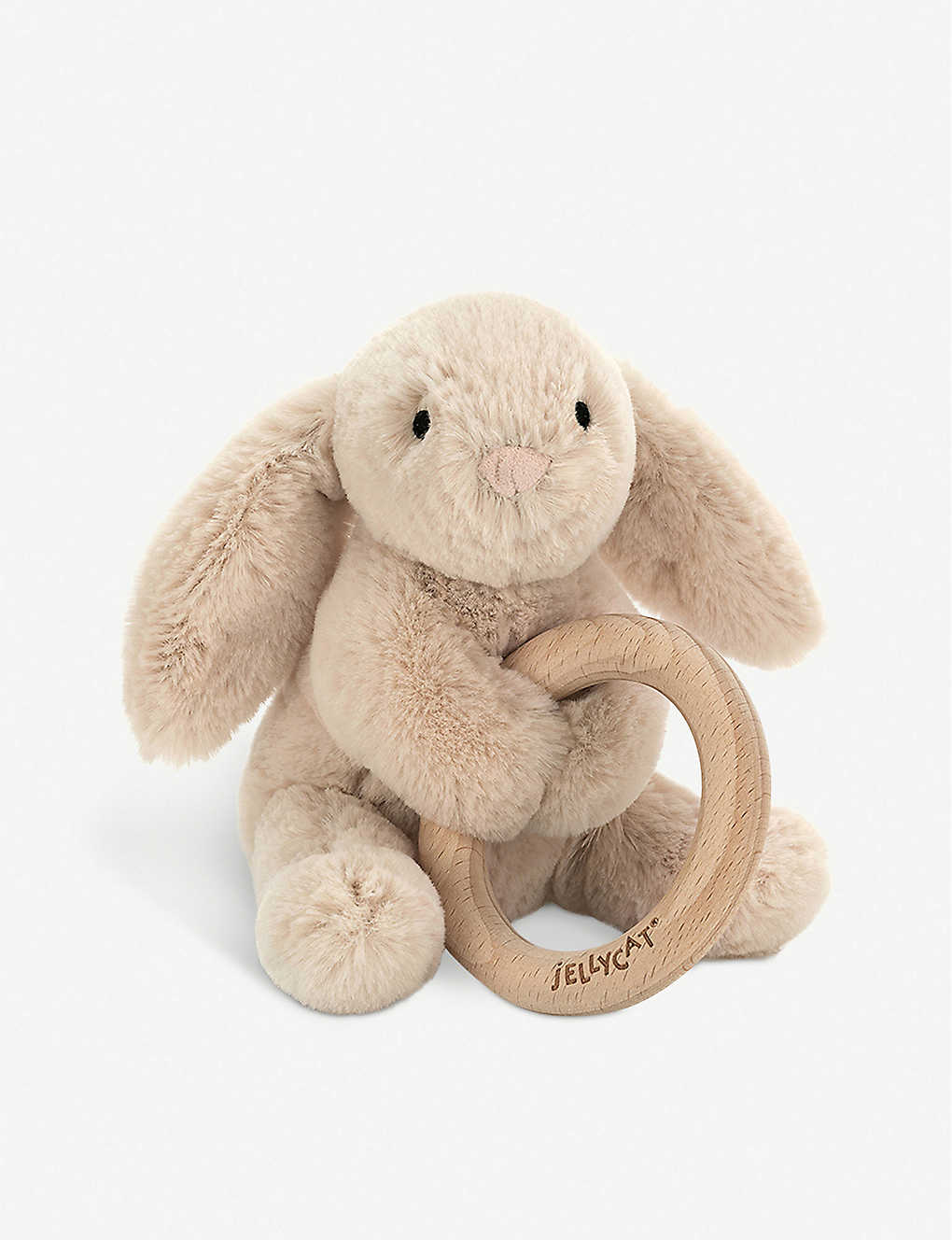 JELLYCAT: Shooshu bunny wooden ring soft toy 14cm