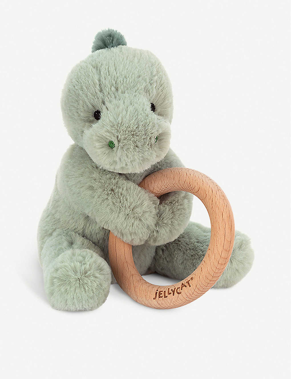 JELLYCAT: Shooshu dino wooden ring soft toy 14cm