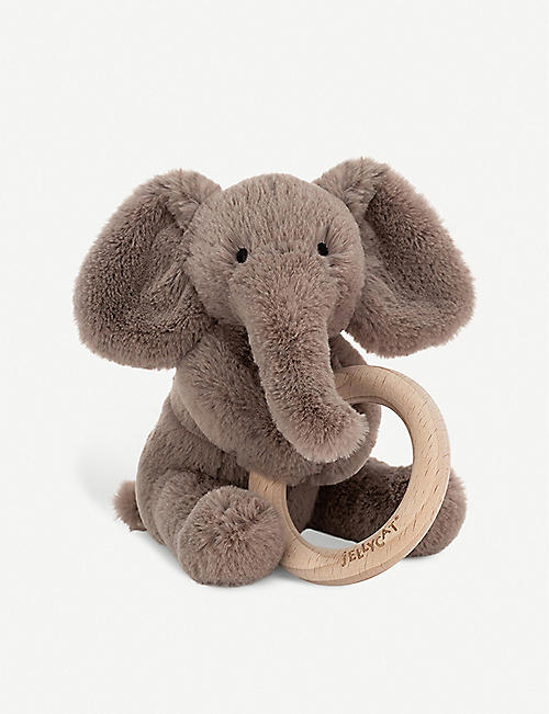 JELLYCAT: Shooshu Elephant wooden ring soft toy 14cm