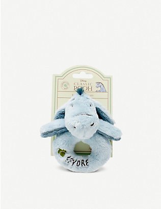 WINNIE THE POOH: Hundred Acre Wood Disney Winnie the Pooh Eeyore plush ring rattle 12cm