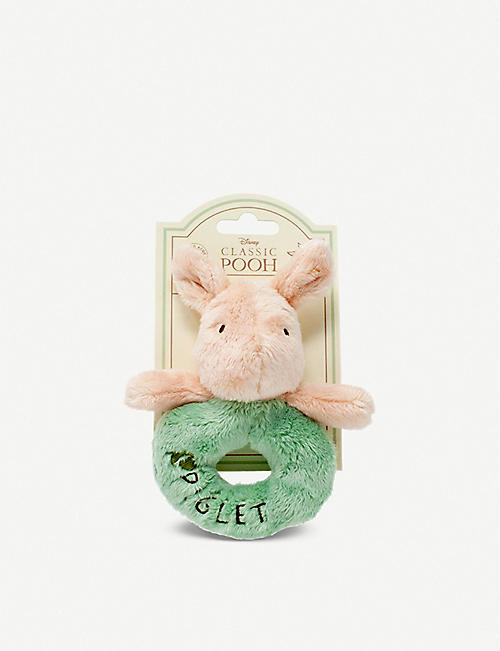 WINNIE THE POOH: Hundred Acre Wood Disney Winnie the Pooh Piglet plush ring rattle 12cm