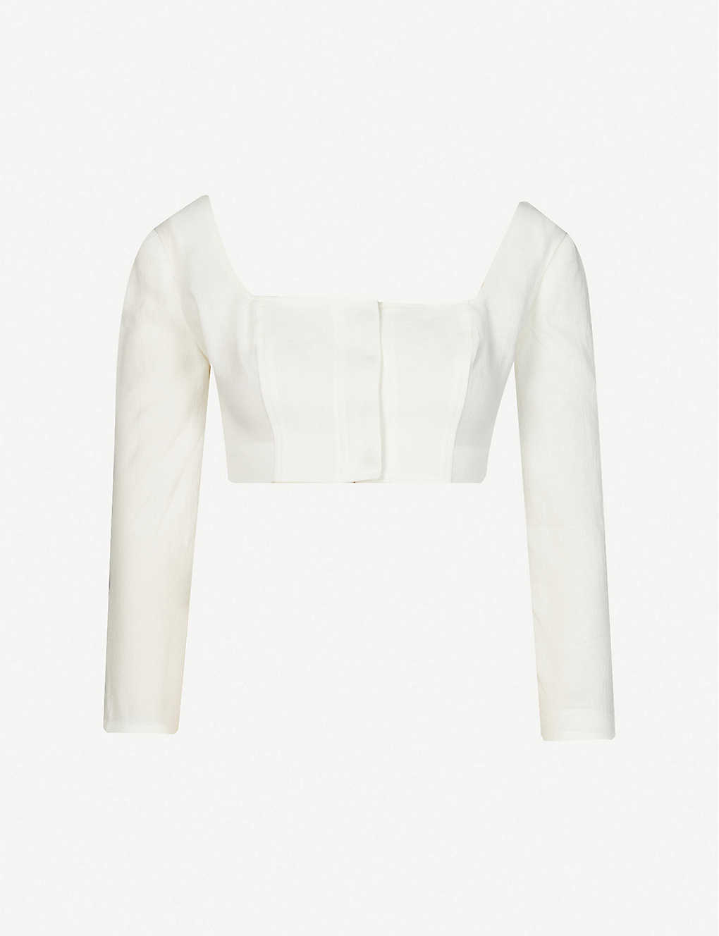 LE KASHA: Jazirat square-neck cropped linen top