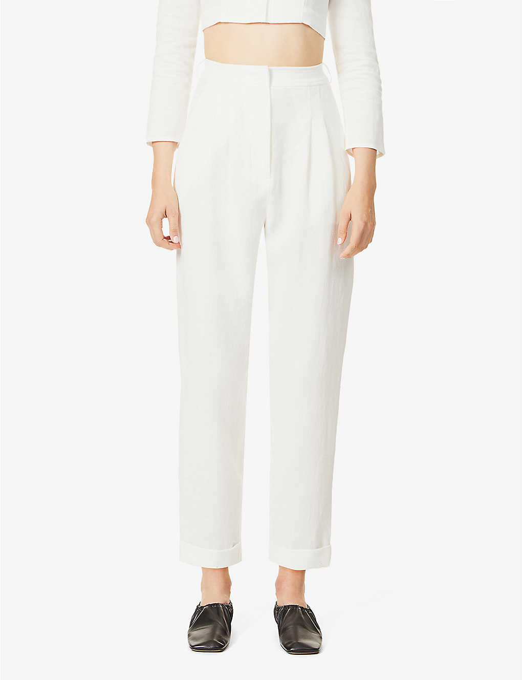 LE KASHA: High-rise wide linen trousers