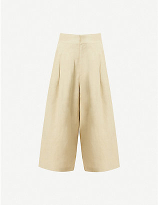 LE KASHA: Abadan high-rise wide linen trousers