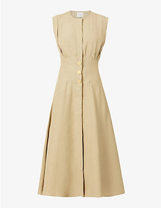 LE KASHA: Dishna linen midi dress