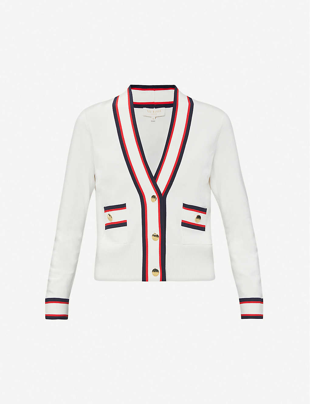 TED BAKER: Striped stretch-knitted cardigan