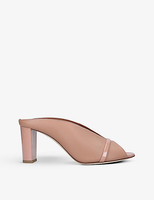 MALONE SOULIERS: Ciara block-heel open-toe leather mules