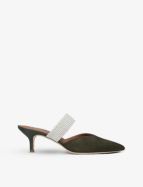 MALONE SOULIERS: Maisie pointed-toe suede heeled mules