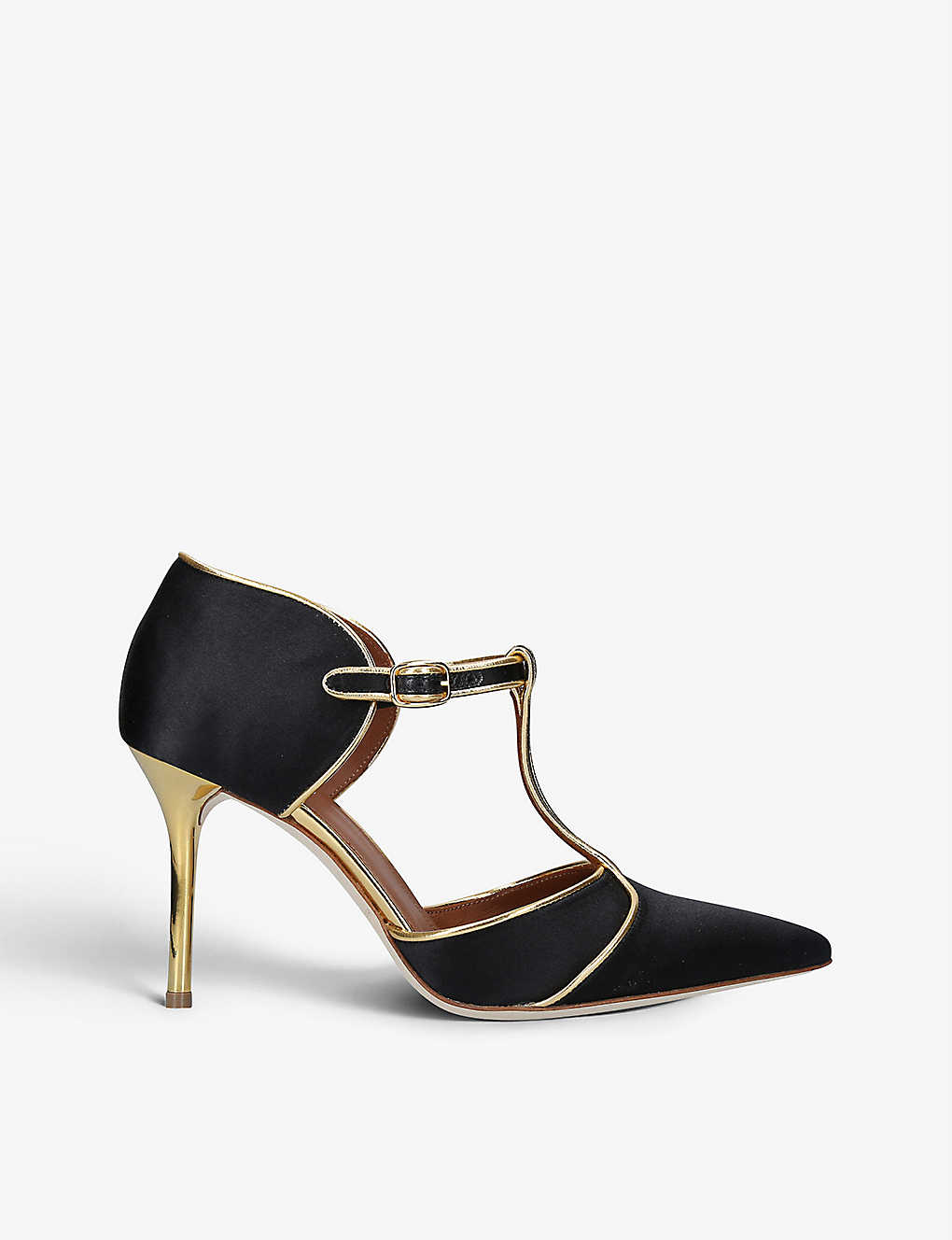 MALONE SOULIERS: Sadie satin and leather T-bar courts