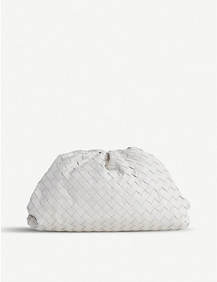 BOTTEGA VENETA: The Pouch intrecciato leather clutch bag