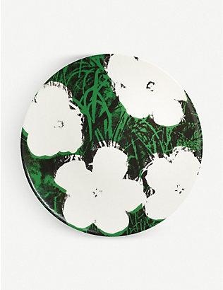 LIGNE BLANCHE: Andy Warhol White Flowers porcelain plate 21cm