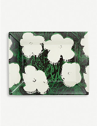 LIGNE BLANCHE: Andy Warhol Flowers tray porcelain tray 20cm x 16cm