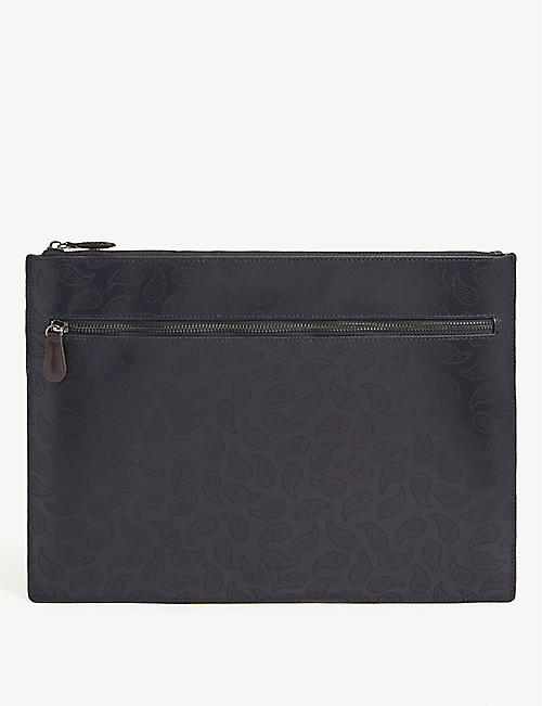 TED BAKER: Paisley-print leather document holder