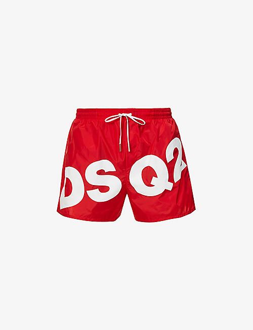 DSQUARED2: Logo-print drawstring-waistband swim shorts