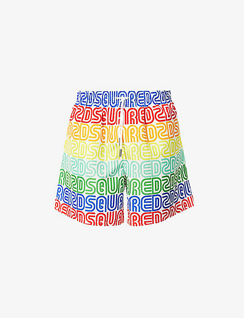 DSQUARED2: Rainbow branded relaxed-fit swim shorts