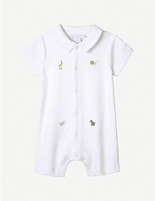 THE LITTLE WHITE COMPANY: Safari animal-embroidered cotton shortie romper 0-12 months