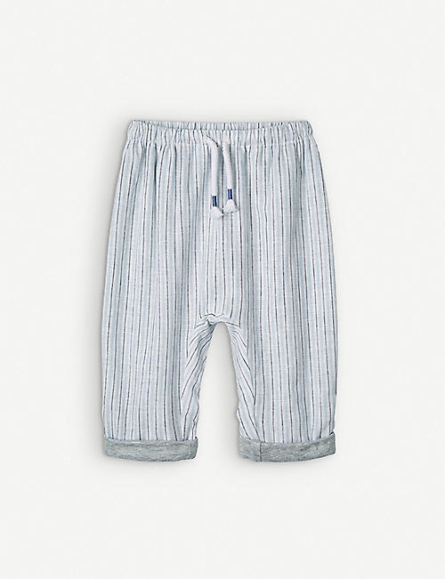 THE LITTLE WHITE COMPANY: Striped cotton and linen-blend trousers 0-24 months