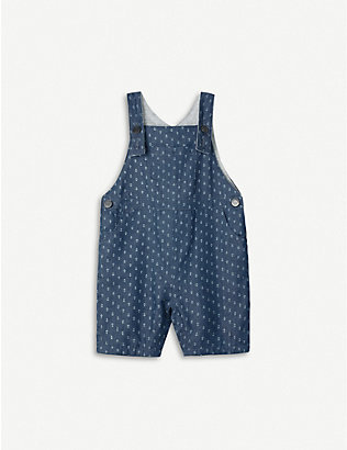 THE LITTLE WHITE COMPANY: Anchor-print cotton dungarees 0-12 months