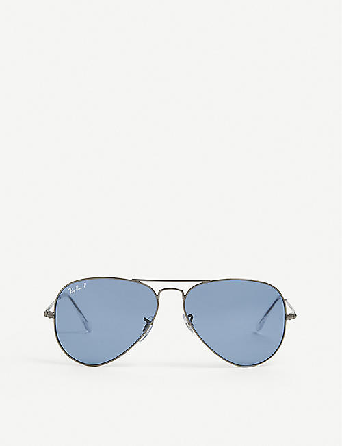 RAY-BAN: RB3689 metal aviator-frame sunglasses