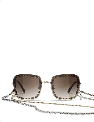 CHANEL: CH4244 chain-embellished square-frame metal sunglasses