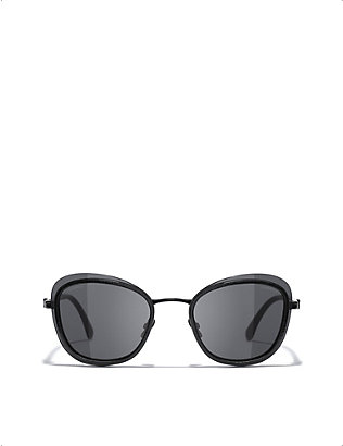 CHANEL: CH4264 metal oval-frame sunglasses