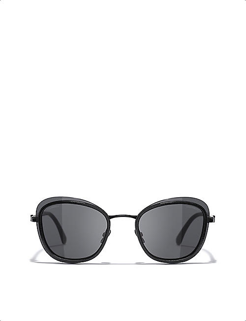 CHANEL CH4264 metal oval-frame sunglasses