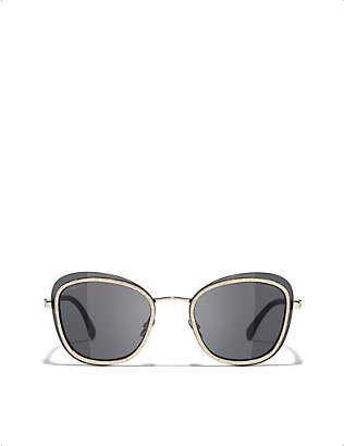 CHANEL: CH4264 oval-frame metal sunglasses
