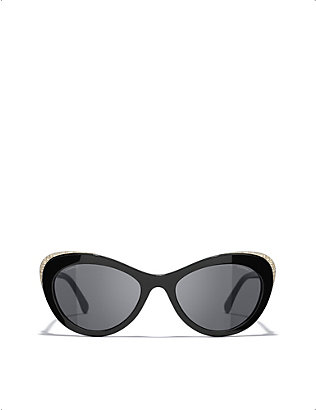 CHANEL: CH5432 cat-eye metal and acetate sunglasses