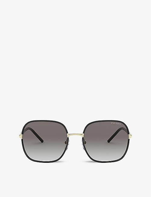 PRADA: PR 67XS 58 rectangle-frame metal sunglasses