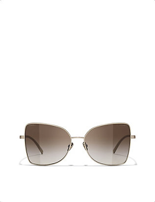 CHANEL: CH4263T titanium butterfly-frame sunglasses